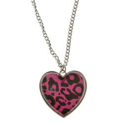 Heart Camouflage Pendant-Necklace Colorful & Silver-Tone Colored #3290