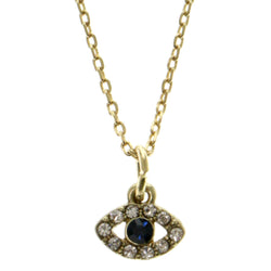 Eye Adjustable Length Pendant-Necklace With Crystal Accents Gold-Tone & Blue Colored #3308