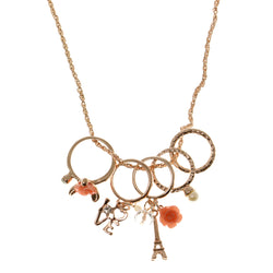 Roses Eiffel Tower Love Heart Pendant-Necklace With Crystal Accents Gold-Tone & Peach Colored #3295