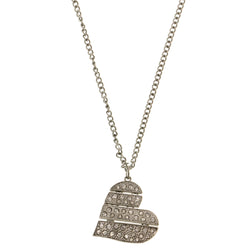 Heart Pendant-Necklace With Crystal Accents  Silver-Tone Color #3293