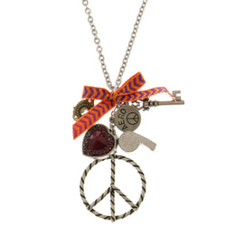 Peace Heart Whistle Pendant-Necklace With Crystal Accents Colorful & Silver-Tone Colored #3283