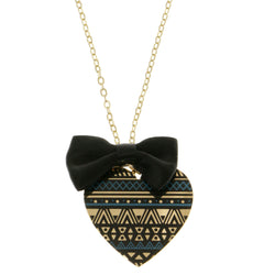 Heart Bow Adjustable Length Pendant-Necklace White & Gold-Tone Colored #3291