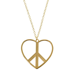 Heart Peace Sign Pendant-Necklace Gold-Tone Color  #3302