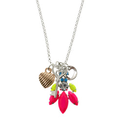 Heart Key Adjustable Length Pendant-Necklace With Faceted Accents Colorful #3306