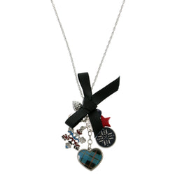 Heart Bow Snowflake Pendant-Necklace With Bead Accents Colorful #3304