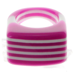 Pink And White Color Ring With Stripe Designs AEROR3