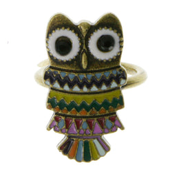 Antique Gold-Tone Owl Shaped Ring with Assorted Color Accents AEROR4