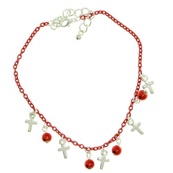 Cross Charm-Anklet With Charm Accents Red & Silver-Tone Colored #4072