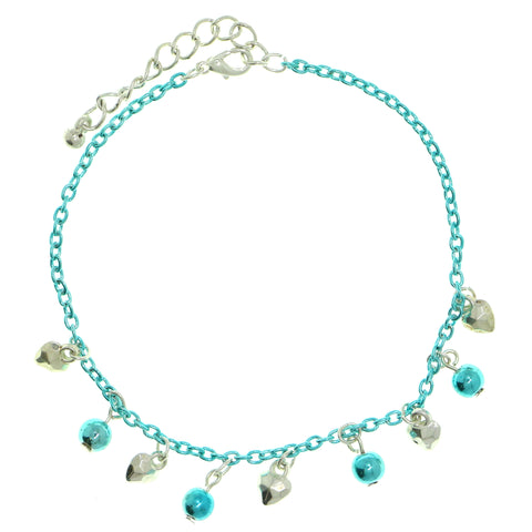 Heart Charm-Anklet With Bead Accents Silver-Tone & Blue Colored #4081
