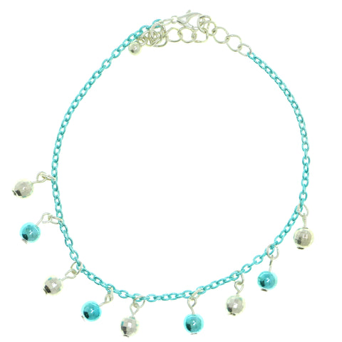 Disco Ball Charm-Anklet With Bead Accents Silver-Tone & Blue Colored #4103