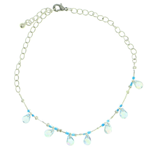 Silver-Tone & Blue Colored Metal Charm-Anklet With Bead Accents #4079