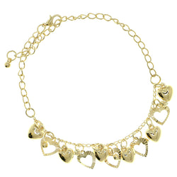 Heart Charm-Anklet With Crystal Accents  Gold-Tone Color #4058
