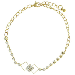 Gold-Tone Metal Chain-Anklet With Crystal Accents #4064