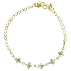 Gold-Tone Metal Chain-Anklet With Crystal Accents #4063