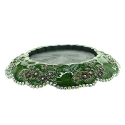 Flowers Candle-Holder With Crystal Accents Pewter & Green Colored #CH3