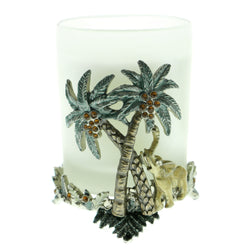 Palm Trees Elephants Candle-Holder With Crystal Accents Silver-Tone & Multi Colored #CH6