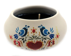 Off white ornamental ceramic candle with a blue birds and heart design CNDL10