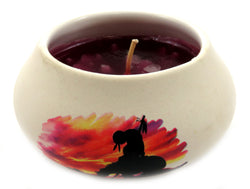 Off white ornamental ceramic candle with an Indian on a horse silhouette design (red candle) CNDL14