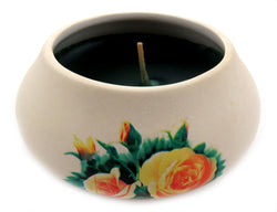 Off white ornamental ceramic candle with a yellow rose design CNDL1