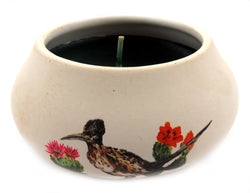 Off white ornamental ceramic candle with a bird and flowers design CNDL21