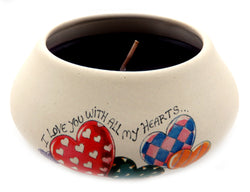 "Off white ornamental ceramic candle with an assorted hearts design that says "" I love you with all my hearts"" design CNDL23"