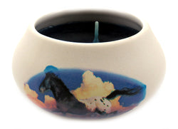 Off white ornamental ceramic candle with a horse running design CNDL24