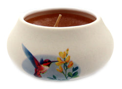 Off white ornamental ceramic candle with a humming bird eating a flower design (yellow candle) CNDL27