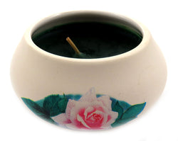 Off white ornamental ceramic candle with a pink rose design (blue candle) CNDL2