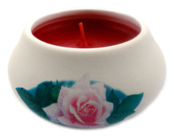 Off white ornamental ceramic candle with a pink rose design (red candle) CNDL35