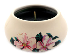 Off white ornamental ceramic candle with a pink flower design CNDL3