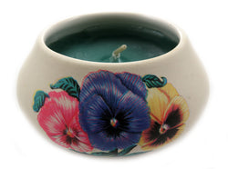 Off white ornamental ceramic candle with an assorted colored pansies design CNDL5