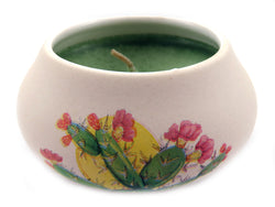 Off white ornamental ceramic candle with a cactus design CNDL8