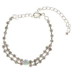 Silver-Tone & Multi Colored Metal Tennis-Bracelet With Crystal Accents #3390
