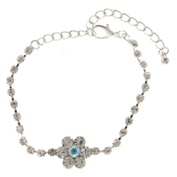 Flower Tennis-Bracelet With Crystal Accents  Silver-Tone Color #3385