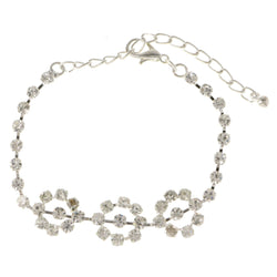 Silver-Tone Metal Tennis-Bracelet With Crystal Accents #3386