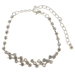 Silver-Tone Metal Tennis-Bracelet With Crystal Accents #3393