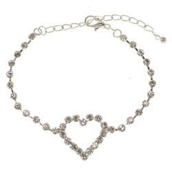 Heart Tennis-Bracelet With Crystal Accents  Silver-Tone Color #3403