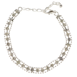 Silver-Tone Metal Tennis-Bracelet With Crystal Accents #3406