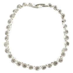 Silver-Tone Metal Tennis-Bracelet With Crystal Accents #3396