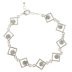 Silver-Tone Metal Tennis-Bracelet With Crystal Accents #3392