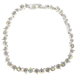 Silver-Tone Metal Tennis-Bracelet With Crystal Accents #3404