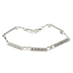 Silver-Tone Metal Tennis-Bracelet With Crystal Accents #3389
