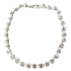 Silver-Tone Metal Tennis-Bracelet With Crystal Accents #3407