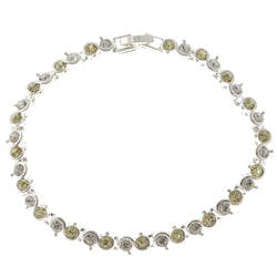 Silver-Tone & Yellow Colored Metal Tennis-Bracelet With Crystal Accents #3401