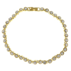Gold-Tone Metal Tennis-Bracelet With Crystal Accents #3387