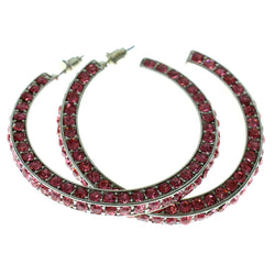 Silver-Tone & Pink Colored Metal Crystal-Hoop-Earrings With Crystal Accents #314