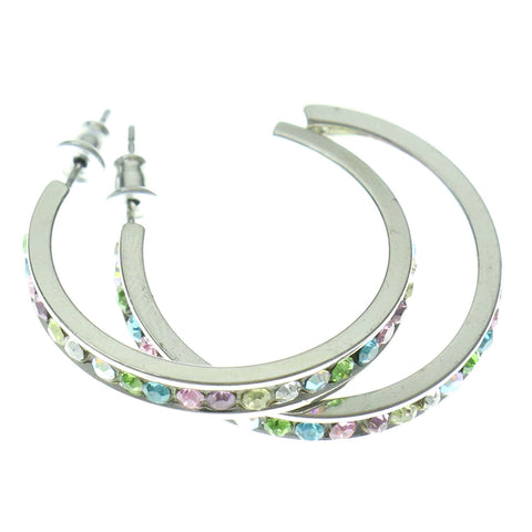 Silver-Tone & Multi Colored Metal Hoop-Earrings With Crystal Accents #315