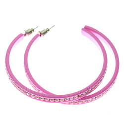 Pink Metal Crystal-Hoop-Earrings With Crystal Accents #319