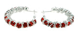 Silver-Tone & Red Colored Metal Crystal-Hoop-Earrings With Crystal Accents #413