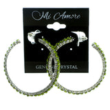 Silver-Tone & Green Colored Metal Crystal-Hoop-Earrings With Crystal Accents #414